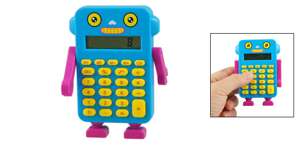 Blue Fuchsia 24 Keypad Rotatable Robot Hand Electronic Calculator