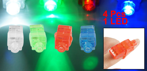 2 Pair Red Blue White Green LED Light Finger Ring Beams