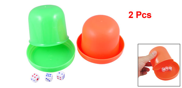 KTV Bar Plastic Green Orange Red Dice Shaker Cup Toy 2 Pcs w Dices