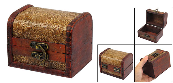 Antique Design Flower Print Jewellery Wooden Case Box