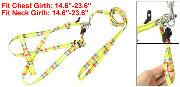 Pet Dog Harness Halter Blue Red Striped Pattern Leash Yellow