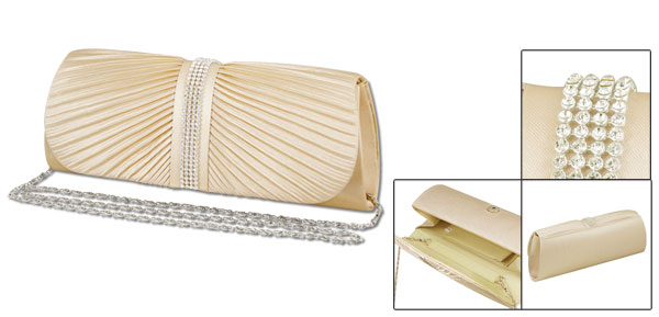 Woman Press Stud Closure Rhinestones Decor Ruched Chain Handbag Evening Bag Purse Champagne Color