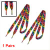 Lady Nylon Rainbow Stripes Flat Shoelaces for Sneakers Canvas Sho...