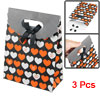 Orange White Heart Printed Foldable Paper Gift Bag Box Holder 3 P...