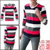 Men Fuchsia White Dark Blue Light Gray Stripes Pattern Shirt S