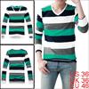 Men Green White Dark Blue Light Gray Stretchy Pullover Shirt S