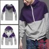 Mens Fashion Mock Neck Purple Light Gray Autumn Hoodie Coat L