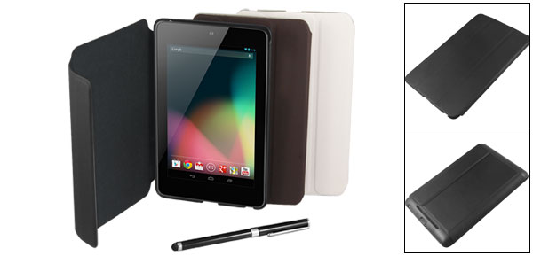 Black Faux Leather Skin Cover Case + Stylus Pen for Google Nexus 7 Tablet