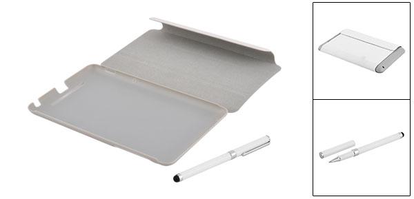 White Faux Leather Skin Cover Case + Stylus Pen for Google Nexus 7 Tablet