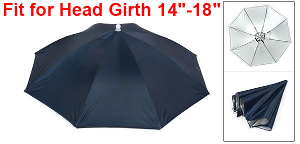 Navy Blue Stretchy Headband Handsfree Umbrella Hat Headwear for Fishing