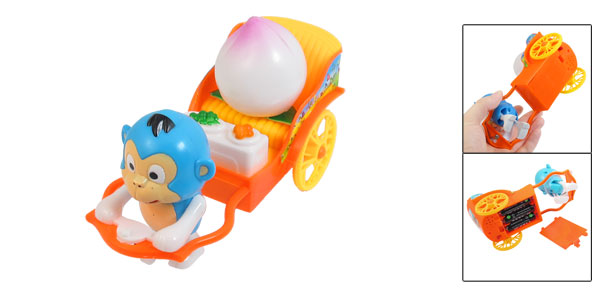 Battery Powered Blue Pulling Cart Cartoon Monkey Toy for Children
