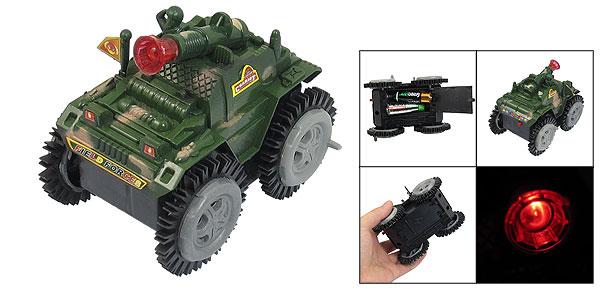Army Green Nonslip Wheels Plastic Tank Model Toy for Children