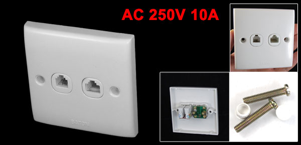AC 250V 10A White Rectangle RJ11 Telephone RJ45 Computer Socket Wall Plate
