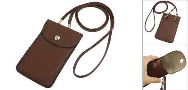 Brown Faux Leather Rectangled Bag Stud Clouser Pouch for Phone
