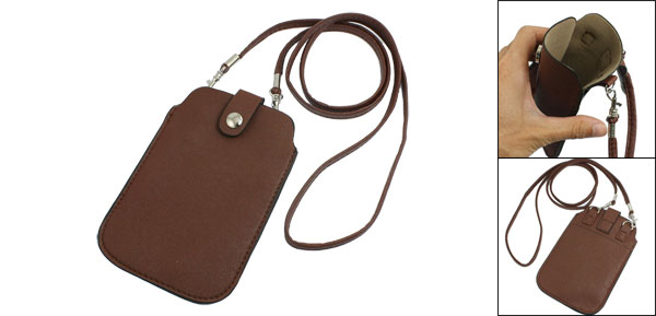 Brown Faux Leather Surface Pouch Bag w Neck Strap for Phone