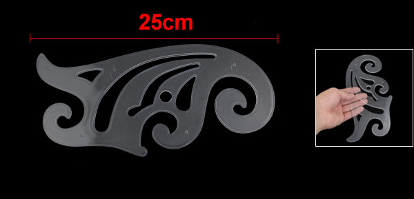 25cm Length Clear Drawing Template Tool Plastic French Curve Ruler