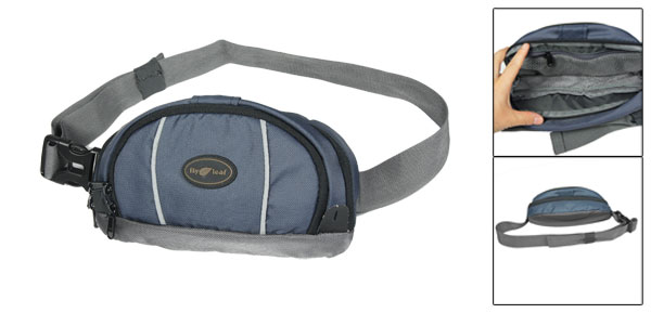 Three Compartments Adjustable Belt Nylon Waist Pack Dark Blue Gray for Man