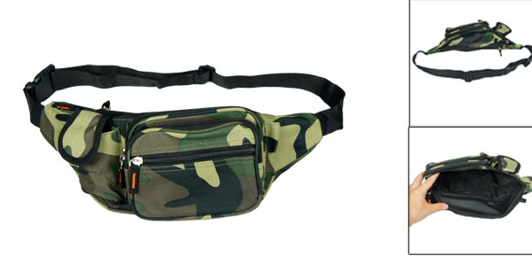 Men Camouflage Pattern Adjustable Strap 5 Pocket Zipper Closure Waist Bag Pack