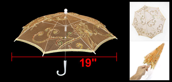 Wedding Orange Embroider Floral Pattern Foldable Mini Lace Umbrella