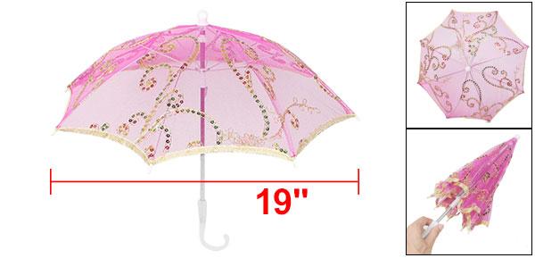 Wedding Fuchsia Embroider Floral Pattern Folding Mini Lace Umbrella