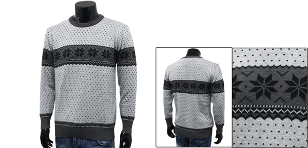 Men Light Gray Winter Snow Pattern Round Neck Sweater M