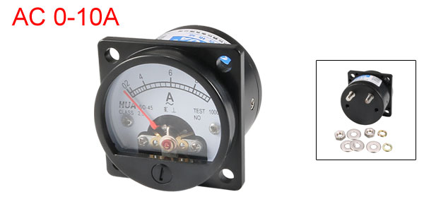 Class 2.5 Accuracy AC 0-10A Round Analog Panel Meter Ammeter Black