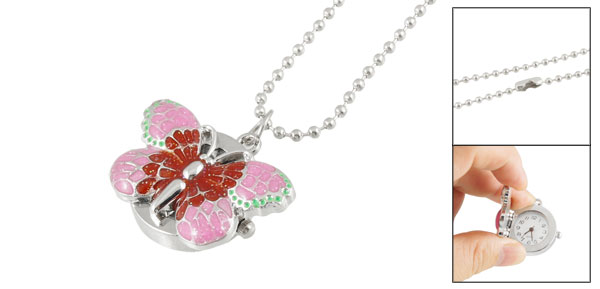 Ladies Women Butterfly Numeral Dial Beaded Necklace Watch Pink Silver Tone