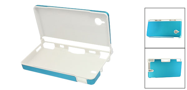 White Plastic Inside Sky Blue Aluminum Alloy Surface Case for Nintendo NDSi