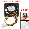 DC 12V Desktop Computer PC Case 3 Pin Cooler Cooling Fan 40mm x 4...