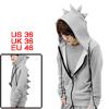 Mens Light Gray Zipper Closure Dinosaur Designed Hoody Coat S
