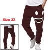 Men Burgundy Leisure Elastic Waist Drawstring Detail Pants W32