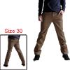 Mens Dark Khaki Stylish Button Closure Pocket Decor Back Pants W3...