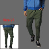 Men Olive Green One Hip Pocket Elastic Waist Casual Trousers W27