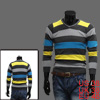 Mens V Neck Long Sleeve Stripe Pattern Yellow Dark Gray Stylish K...