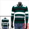 Mens Dark Green Black Contrast Color Trimed New Fashion Knit Shir...