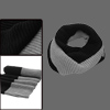 Mens Black Gray Stripe Pattern Ribbed Knitting Panel Tube Scarf