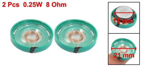 2 Pcs Round Slim 8 Ohm 0.25W Internal Magnet Speaker Horn 0.83