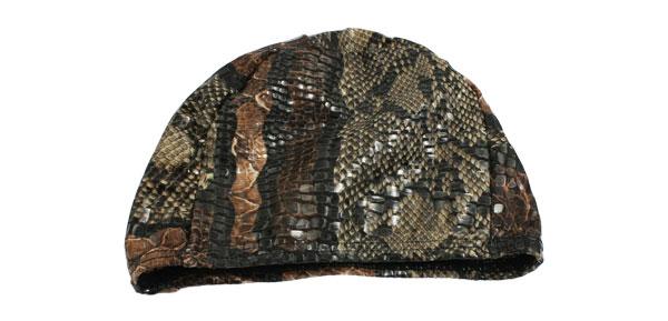 Assorted Color Snake Pattern Fiber Elastic Shower Swim Cap Hat