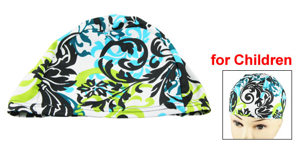 Kids Assorted Color Floral Vines Decor Stretchy Swimming Bathing Cap