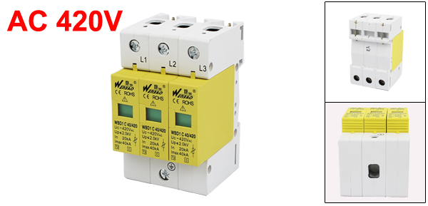 AC 420V 40KA 20KA 3P DIN Rail Mount Surge Protection Device Arrester