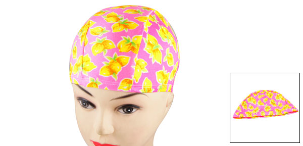 Men Women Elastic Head Band Yellow Lemon Pattern Polyester Swimming Cap Pink