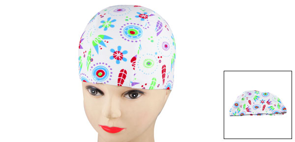 Men Women Elastic Head Band Multicolored Flower Pattern Swimming Cap