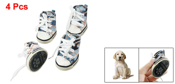 Size 3 Blue Gray Camouflage Pattern Sneaker Boots Pet Dog Winter Shoes 4 Pcs
