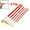 Red Wooden Handle Nylon Head Artist Oil Painting Brush 6 Pcs