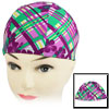 Children Purple Flower Fiber Elastic Swimming Swim Cap Hat