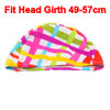 Colorful Slanting Block Stripes Print Dome Shape Elastic Swimming Cap for Adults