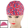 Elastic Head Band Blue Pink Heart Pattern Polyester Swimming Cap ...