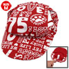 Red White Letters Print Adjustable Chin-strap Visor Cap Hat Size M for Pet Dog