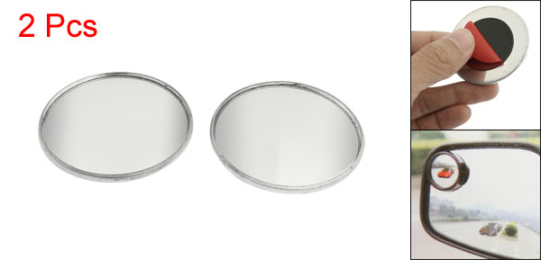2 Pcs Adhesive Round Side Rearview Blind Spot Mirrors Silver Tone 2