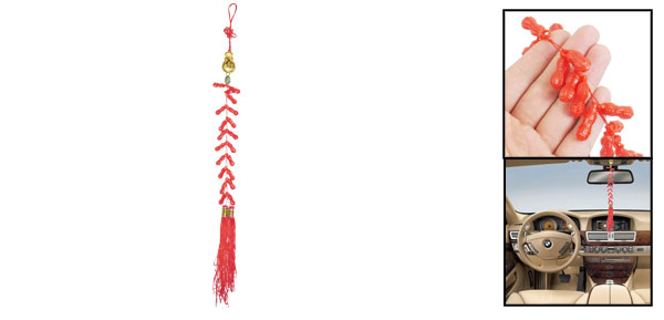 Home Decor Double Tassel Plastic Peanut Pendant Chinese Knot Red